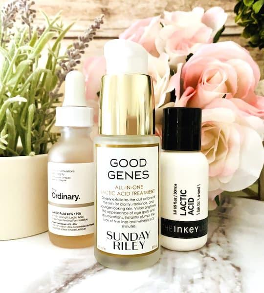 Sunday Riley Good Genes Lactic Acid Treatment, The Ordinary and The Inkey List Lactic Acid Serums