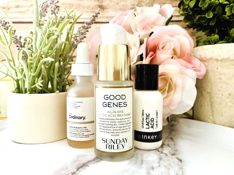 Sunday Riley Good Genes Lactic Acid Treatment, The Ordinary and The Inkey List Lactic Acid Serums