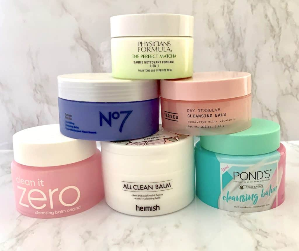 Pyramid of six drugstore cleansing balms