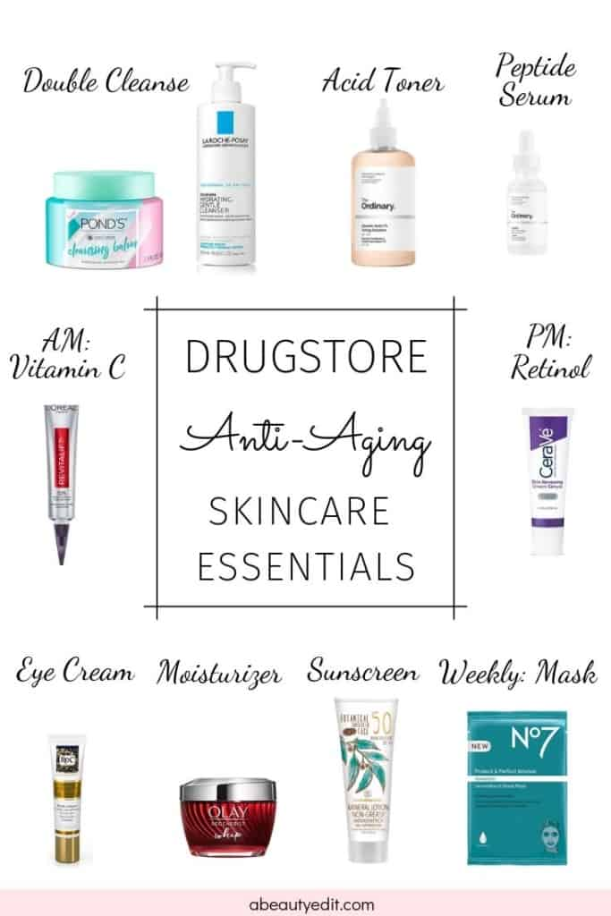 Drugstore Anti-Aging Skincare Essentials Product Collage