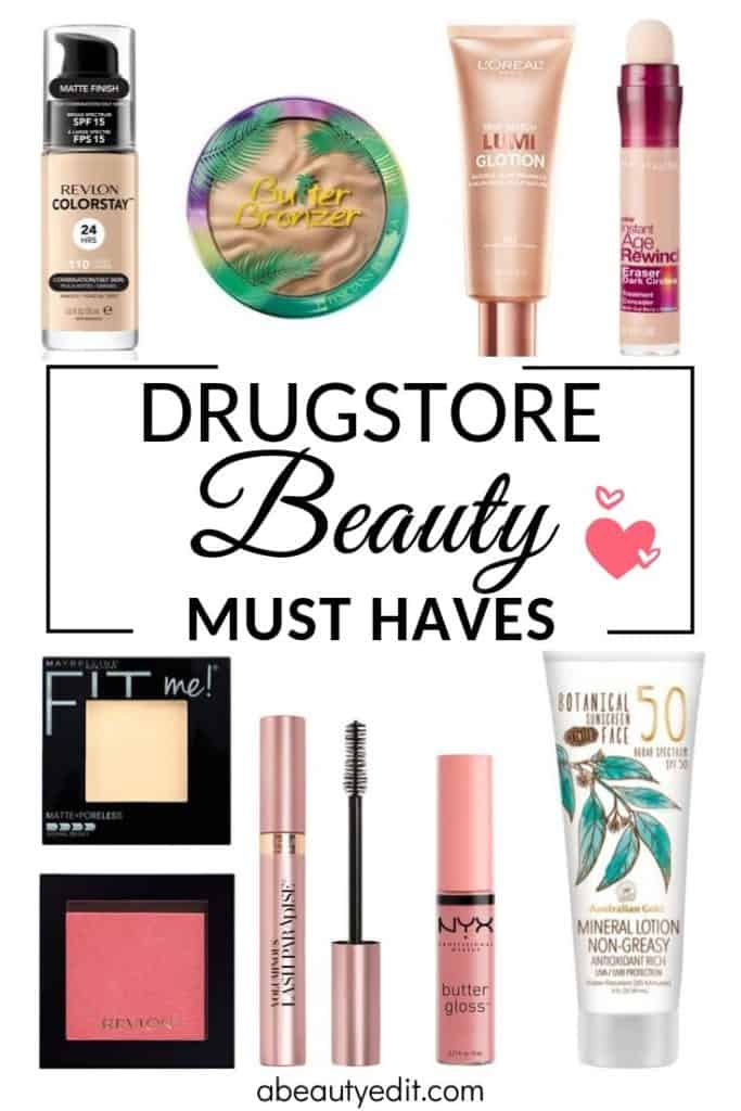 Drugstore Beauty Must Haves Collage