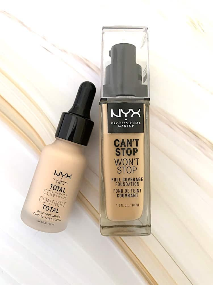 NYX Can't Stop Won;t Stop Full Coverage Foundation and NYX Total Control Drop Foundation