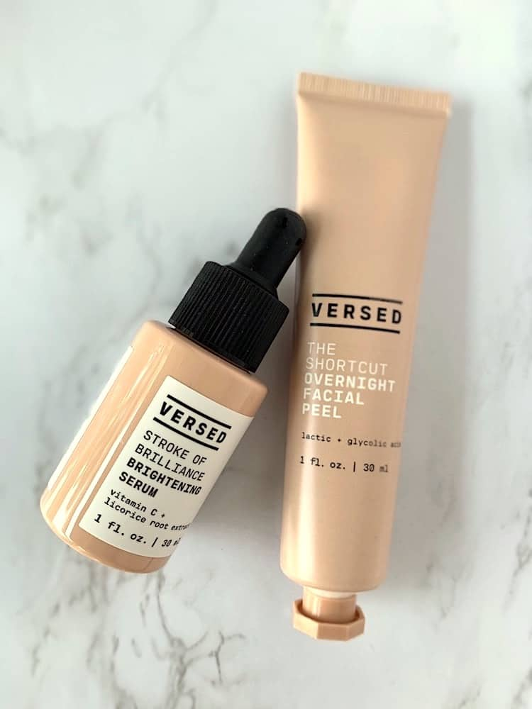 Target Versed Stroke of Brilliance Brightening Serum and The Shortcut Overnight Facial Peel