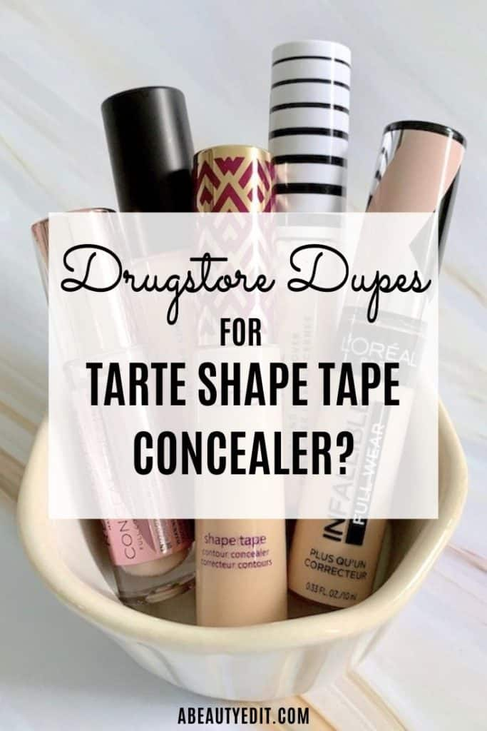 Drugstore Alternatives to Tarte Shape Tape Concealer Text over concealers in ceramic bowl