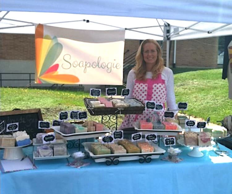 Sarah and Soapologie Handmade Soap at Farmers Market