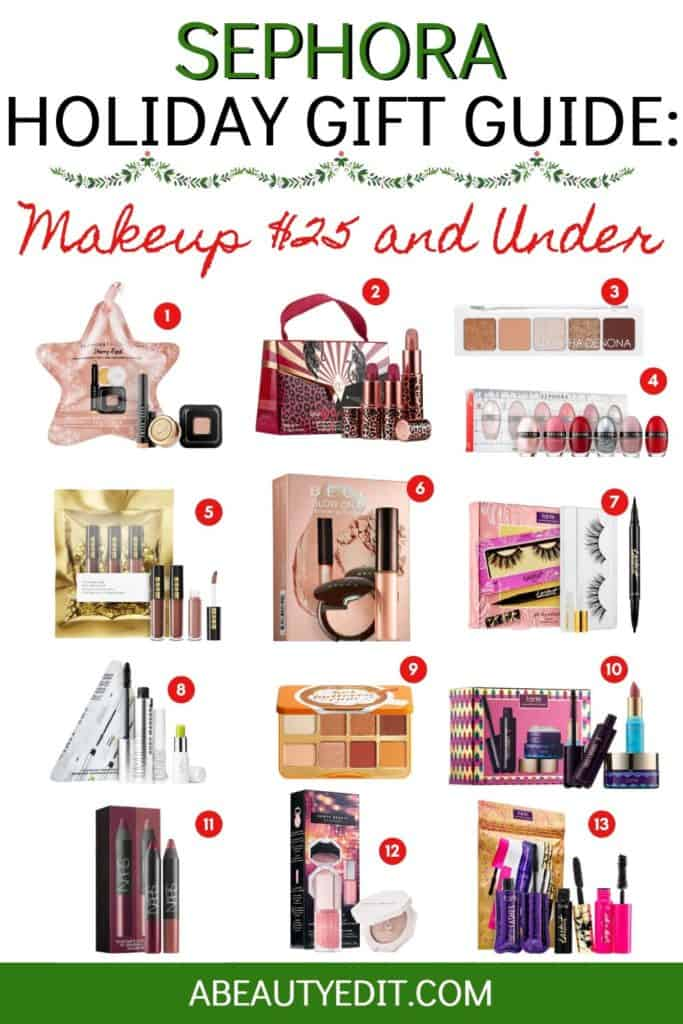 Sephora Holiday Gift Guide Makeup $25 and Under Collage