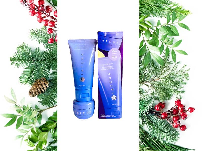 Tatcha Dewy Skin Duo with holiday garland and berries