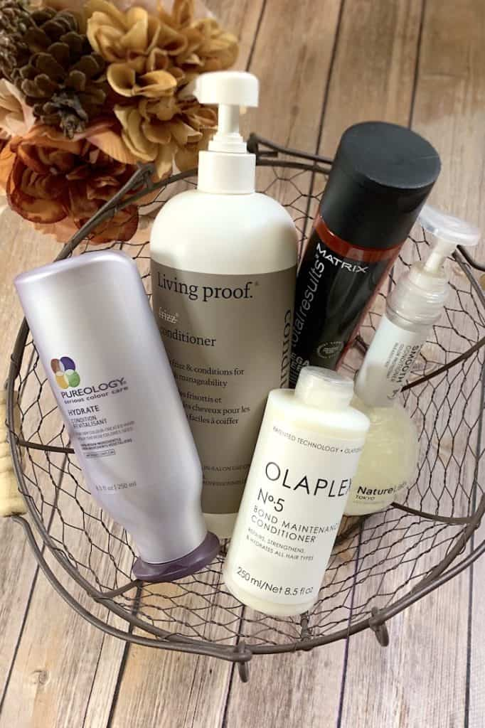Five Hair Conditioners for Frizzy Hair in Wire Basket
