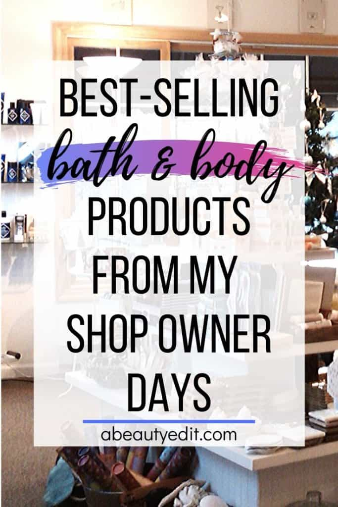 Best Selling Products from my Shop Owner Days overlay on Bathologie interior