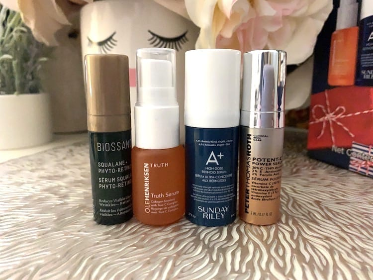 Biossance Bakuchiol Ole Henriksen Truth Serum, Sunday Riley A+ Retinol Serum and Peter Thomas Roth Vitamin C Serum