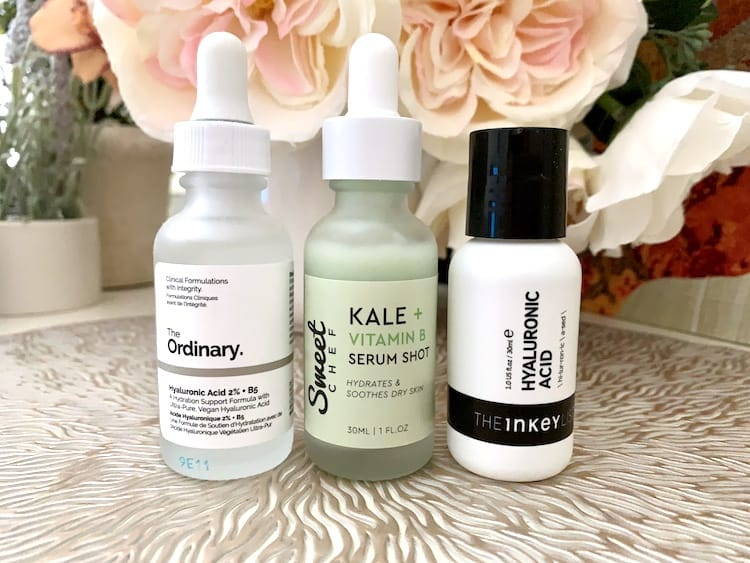 The Ordinary, The Inkey List and Sweet Chef Hyaluronic Acid and Vitamin B Serums