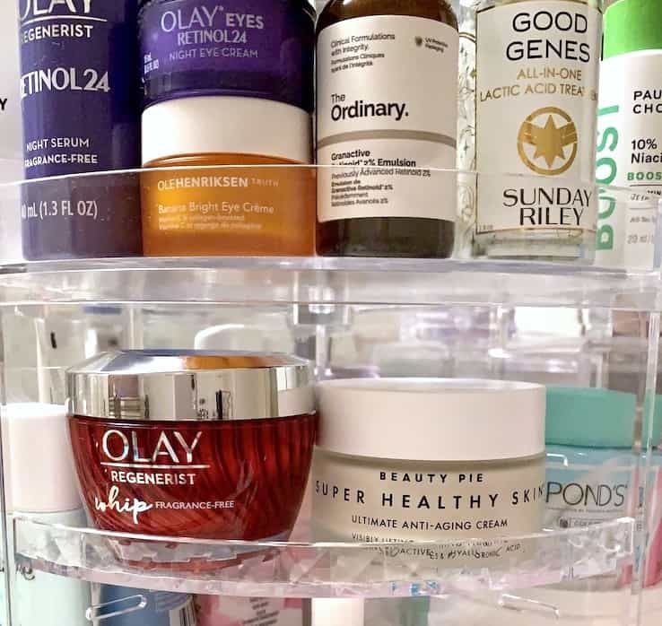 Skincare Products on Circular Rotating Beauty Organizer