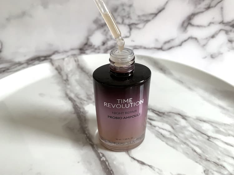 MISSHA Time Revolution Night Repair Probio Ampoule Opened with Dropper