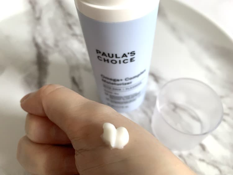 Paula's Choice Omega + Complex Moisturizer Sampled on Hand