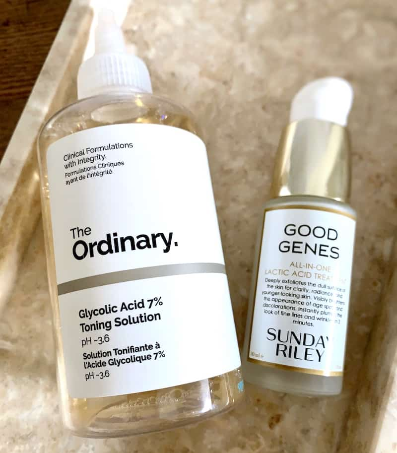 The Ordinary Glycolic Acid 7% Toning Solution & Sunday Riley Good Genes