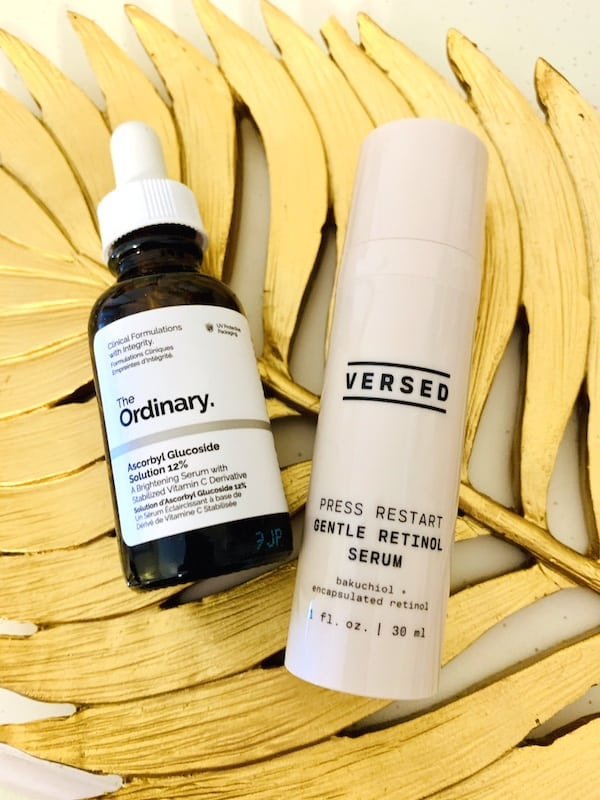 The Ordinary Ascorbyl Glucoside Solutio 12% and Versed Press Restart Gentle Retinol Serum