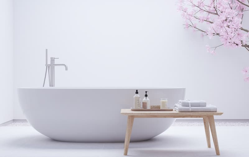 Zen Modern White Bathtub with Bench
