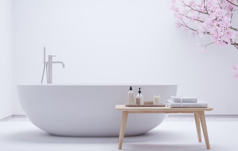 Zen Modern White Bathtub with Bench