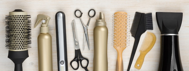 Hairtstyling Tools: Brushes, Scissors, Comb and Hairdryer