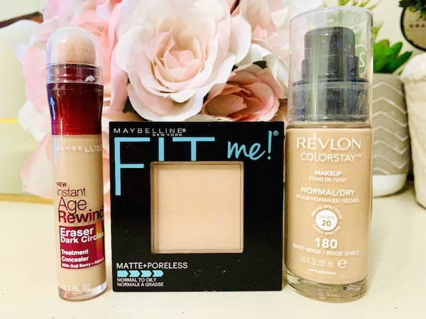 Maybelline Instant Age Rewind Eraser Dark Circles Concealer, Fit Me! Matte + Poreless Powder and Revlon ColorStay Makeup