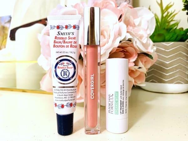 Rosebud Salve, CoverGirl Coverlicious Lip Gloss and Physicians Formula Lip Treatment