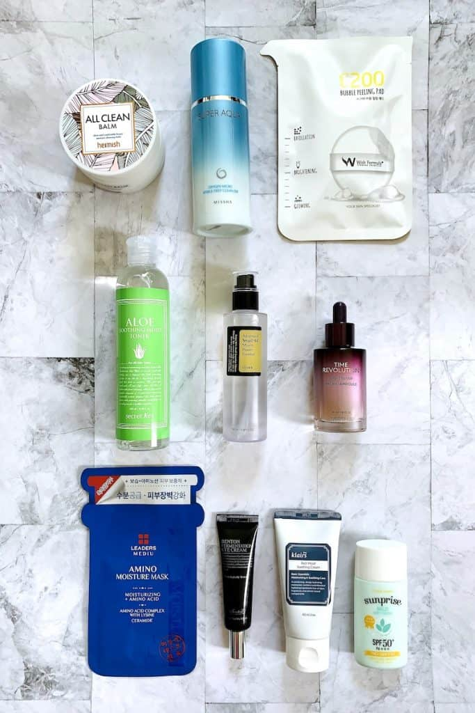 The 10 Step Korean Skincare Routine Products Flatlay