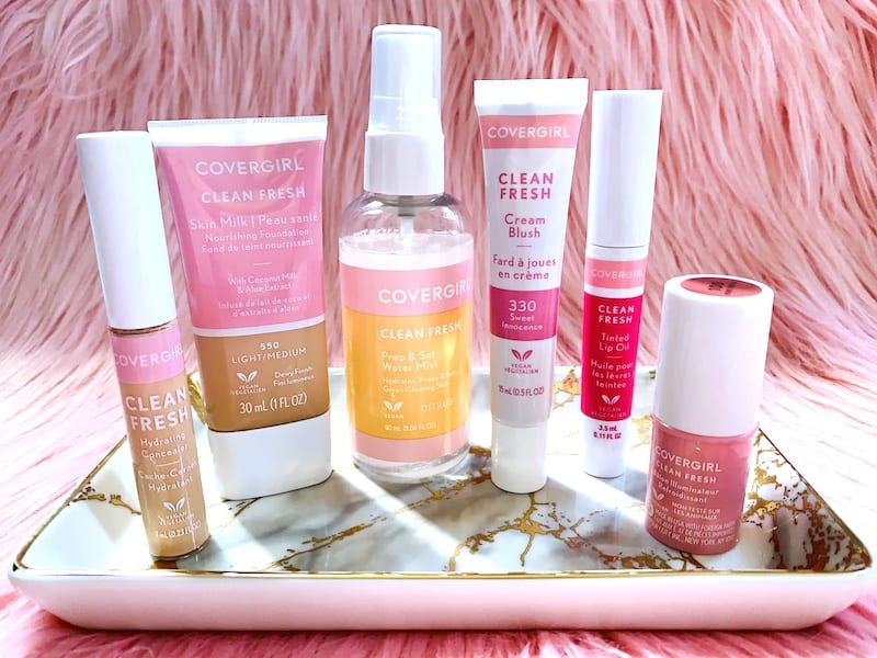CoverGirl Clean Fresh Makeup Products on Tray with Pink Background