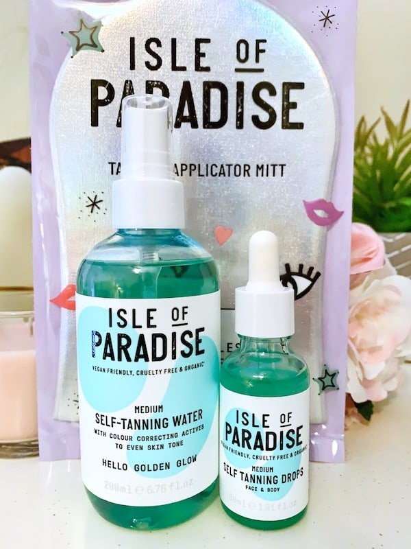 Isle of Paradise Medium Self Tanning Water, Drops and Applicator Mitt
