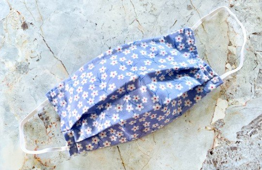 Blue Flower Cotton Face Mask with Ear Loops