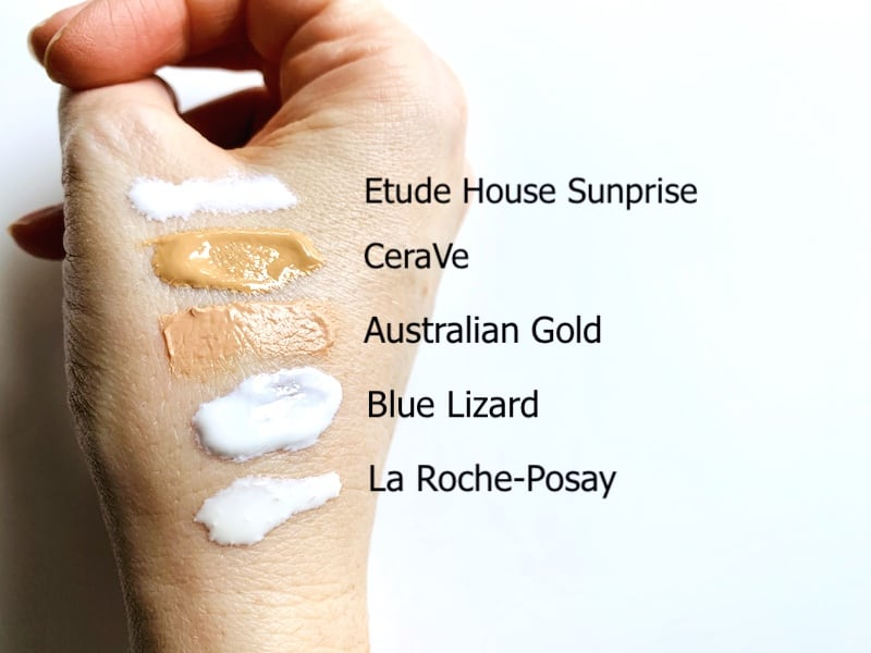 Drugstore Mineral Sunscreen Swatches on Hand