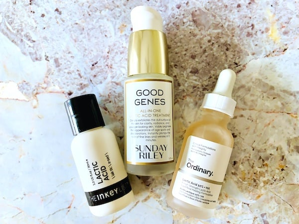 Sunday Riley Good Genes, The Inkey List and The Ordinary Lactic Acid Treatments