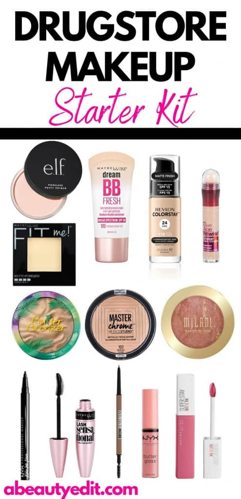Drugstore Makeup Starter Kit Product Collage