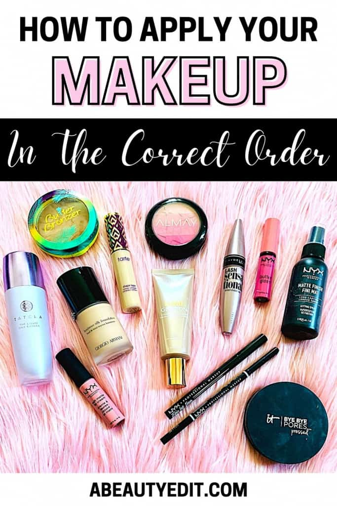 How to Apply Your Makeup in the Correct Order - Makeup Flatlay on Pink Faux Fur