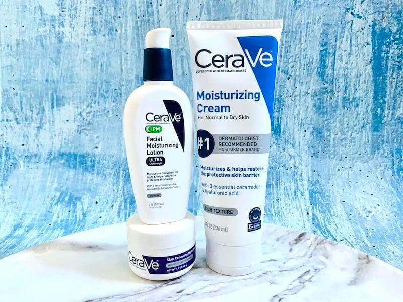 CeraVe PM Facial Moisturizing Lotion, CeraVe Moisturizing Cream and CeraVe Skin Renewing Night Cream