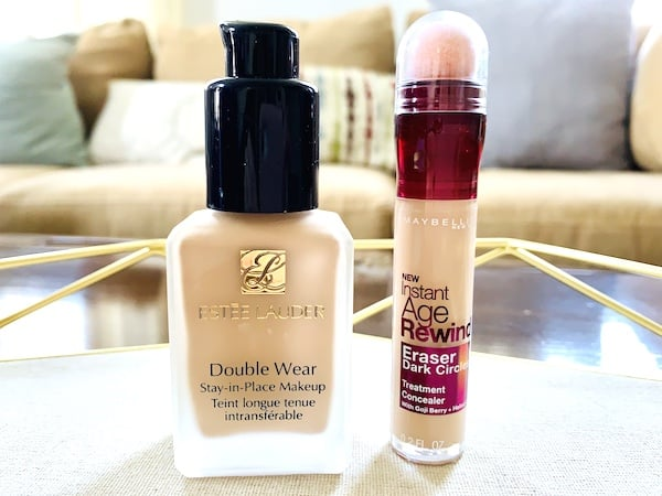 Estee Lauder Double Wear Stay-in-Place Makeup and Maybelline Instant Age Rewind Eraser Dark Circles Treatment Concealer