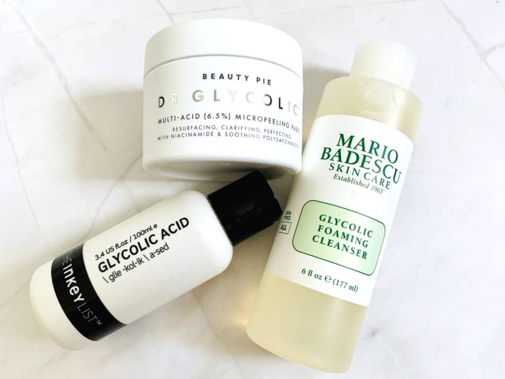 The Inkey List Glycolic Acid Toner, Beauty Pie Dr Glycolic Multi Acid Micropeeling Pads, and Mario Badescu Glycolic Foaming Cleanser