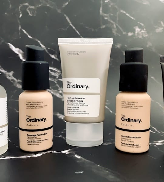 The Ordinary High-Spreadability Fluid Primer, Coverage Foundation, High-Adherence Silicone Primer, Serum Foundation, and Concealer