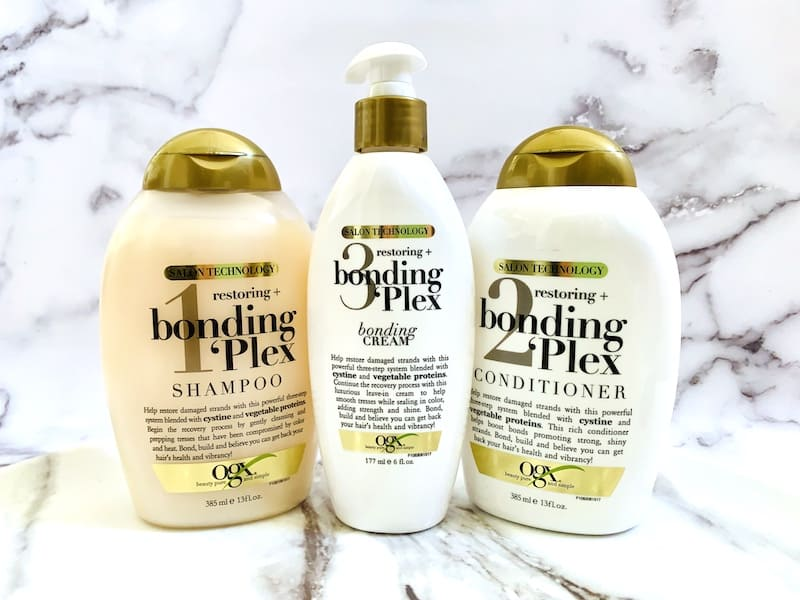 OGX Restoring + Bonding Plex Salon Technology 3-Step System - Shampoo, Conditioner & Bonding Cream