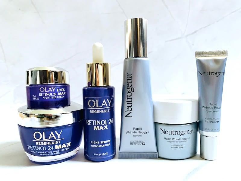 Olay Retinol 24 vs Neutrogena Rapid Wrinkle Repair: Serums, Eye Creams and Moisturizers