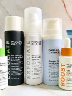 The Best Paula's Choice Skincare Products: BHA Liquid Exfoliant, AHA Gel Exfoliant, Niacinamide Serum Booster, C15 Booster, Retinol, Omega Complex Moisturizer and Super Light Daily Wrinkle Defense SPF 30