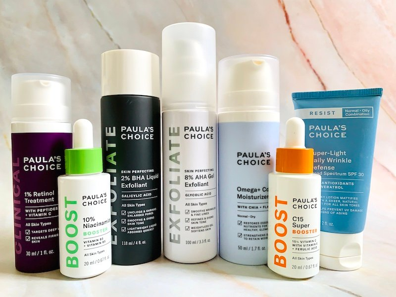 The Best Paula's Choice Skincare Products: BHA Liquid Exfoliant, AHA Gel Exfoliant, Niacinamide Booster Serum, C15 Booster, Retinol, Omega Complex Moisturizer and Super Light Daily Wrinkle Defense SPF 30