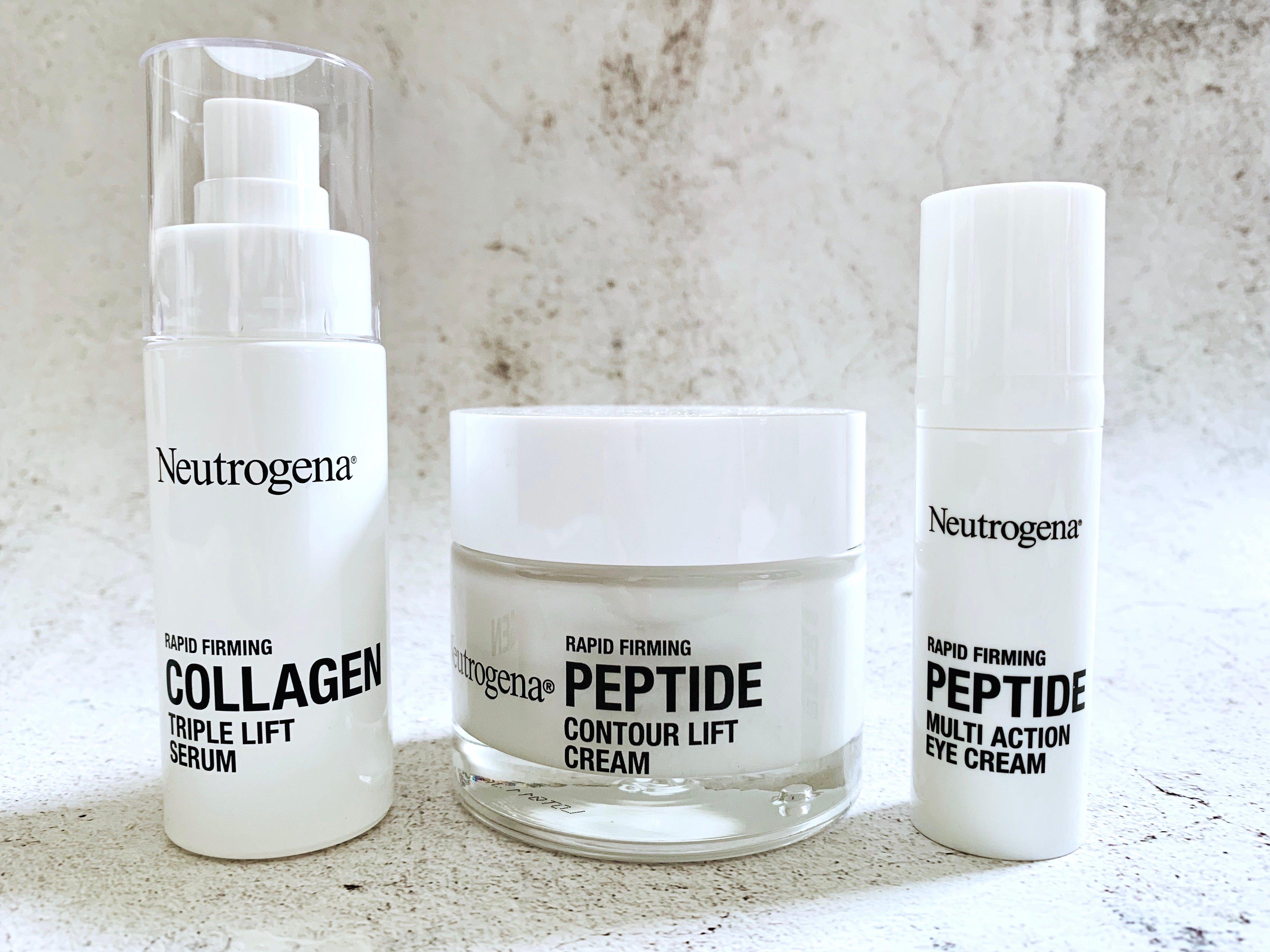 Neutrogena Rapid Firming Collagen Triple Lift Face Serum, Peptide Multi Action Eye Cream and Peptide Contour Lift Cream